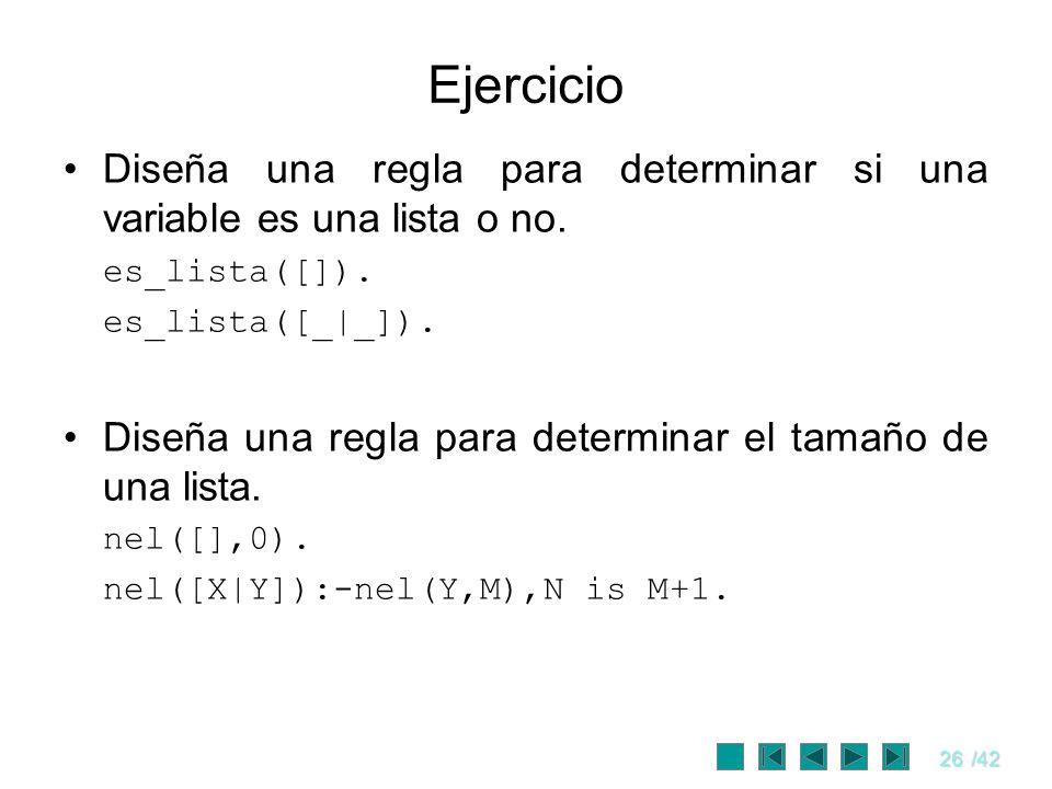 Ejercicio Diseña una regla para determinar si una variable es una lista o no. es_lista([]). es_lista([_|_]).